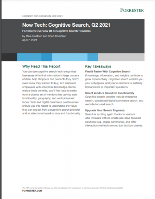 Forrester Now Tech Cognitive Search, Q2 2021 (Front Page)